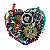 Mechanical heart, abstract form. Vector beautiful art illustration. poster