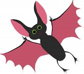 vector bat flies opened wings on a white backgroundvector bat flies opened wings on a white background poster