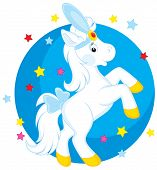 Little white horse dancing in a circus poster
