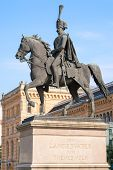 Statue of Ernest Augustus I in front of the Hannover central station Germany poster