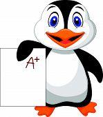 Vector illustration of Cute penguin cartoon showing A plus grade poster