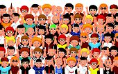 Vector illustration of Crowd of People cartoon Cheering poster