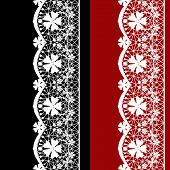 White seamless lacy lace pattern on black red background poster