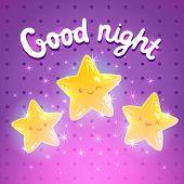 Cute cartoon star background. Good night vector illustration poster
