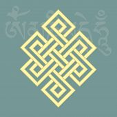 Endless knotone of eight auspicious buddhist religious symbols vector illustration poster