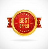 Best Offer label. Vector illustration on white poster
