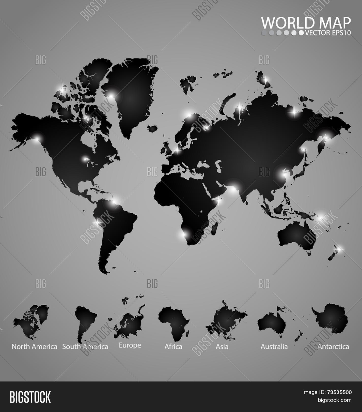 Modern world map vector photo free trial bigstock modern world map with continents atlas north america south america europe africa gumiabroncs Image collections