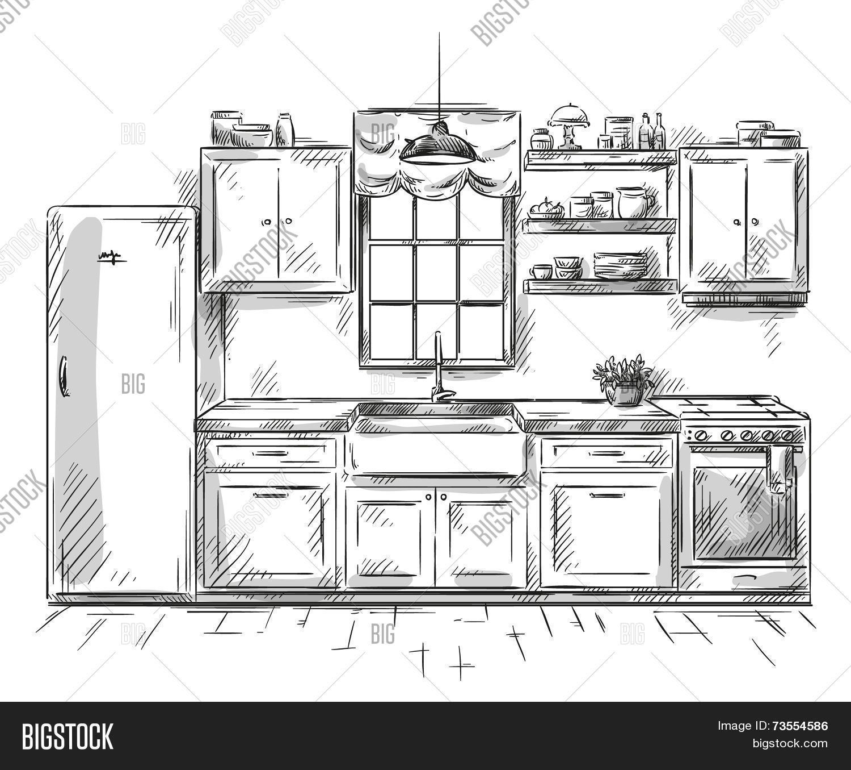 Kitchen Interior Vector Photo Free Trial Bigstock