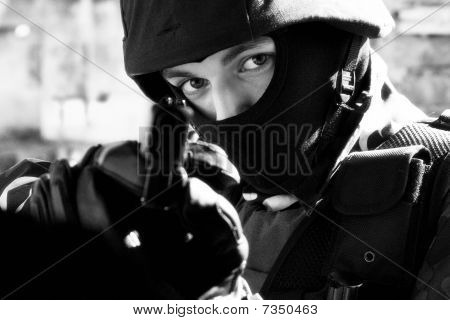 Soldier With Semi-automatic Glock Pistol