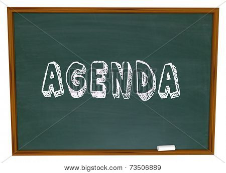 Agenda word written on a chalkboard as a to do list or syllabus for course work in a classroom for lesson or training