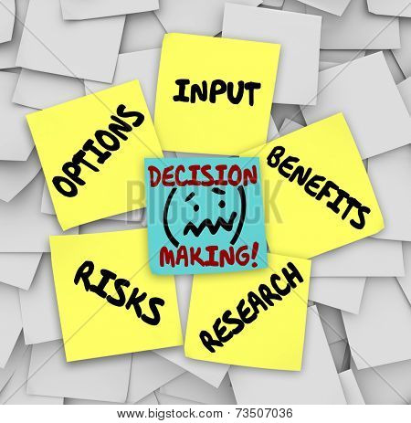 Decision Making words on sticky notes surrounded by things to consider such as options, input, research, risks and benefits