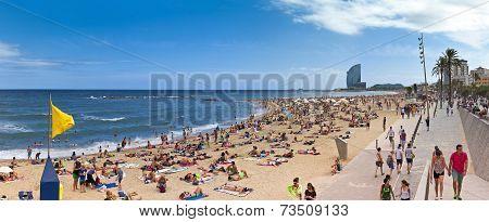 Corwded Beach Of Barceloneta - Barcelona