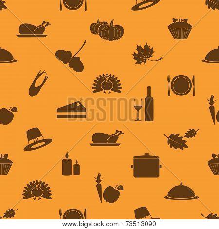 Thanksgiving Icons Set Seamless Autumn Pattern Eps10