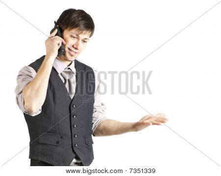 Young Businessman Talking On Phone. Isolated