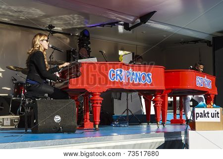 Bright Red Pianos