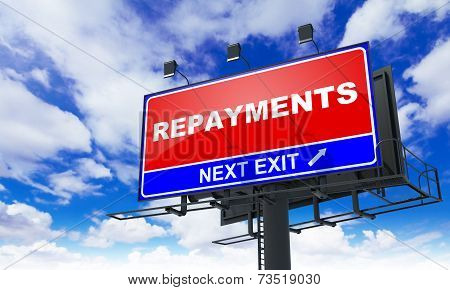 Repayments Inscription on Red Billboard.