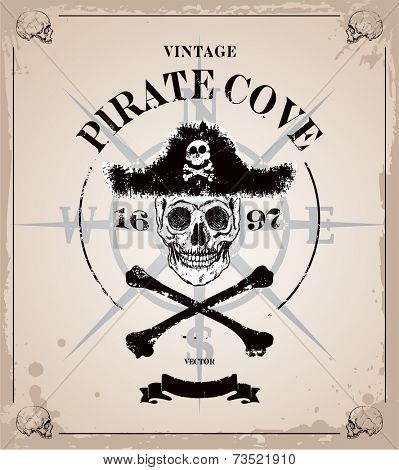 Vintage vector pirates skull frame background