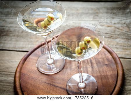 Two Olive Martini Cocktails