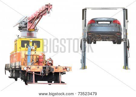 repair train under the white background