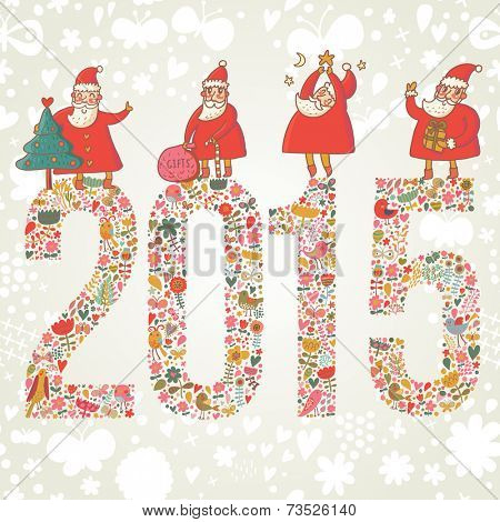 2015 concept New Year background. 2015 made of bright flowers with funny Santa and gifts on top in vector