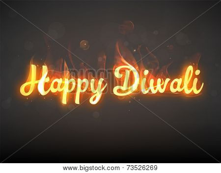 Burning Happy Diwali. Hot Red Fire. Bokeh Elements. Holiday Design.