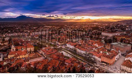A View Of Ljubljana City Centre From The Castle, Slovenia