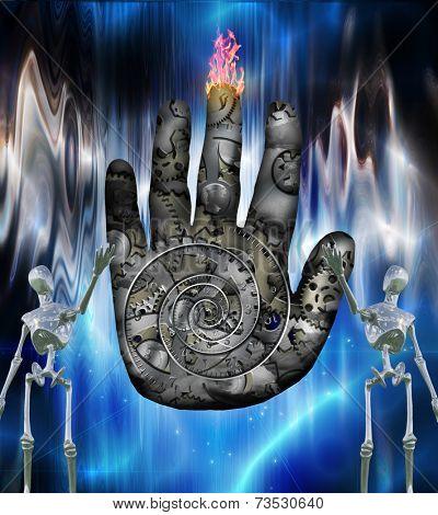 Human hand machine and robots poster