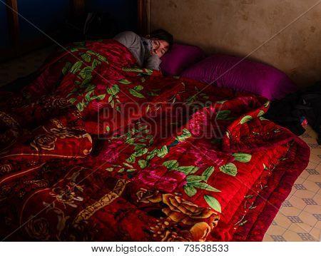Floor Bed On A Trekking In Myanmar (burma)