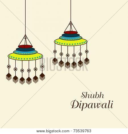 Illustration of beautiful decorated hanging on light background.