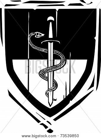 Heraldic Shield Snake And Sword