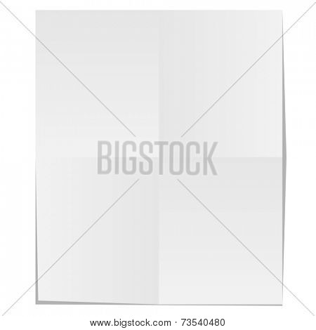 Blank unfolded paper isolated on white background.