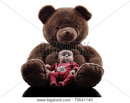 one  new born baby posing with teddy bear silhouette on white background
