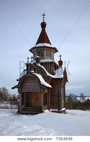 Wooden Orthodox Church In Winter, Russia