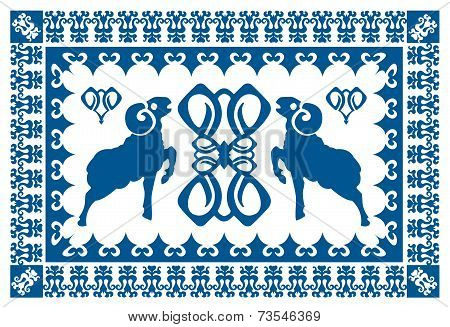 Ethnic ornament with stylized aries