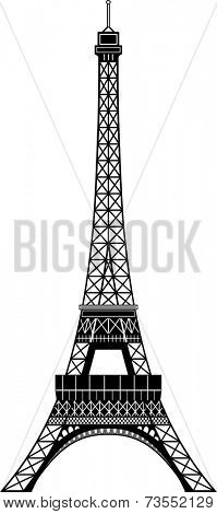 Isolated balck and white Tour Eiffel. Essential style.