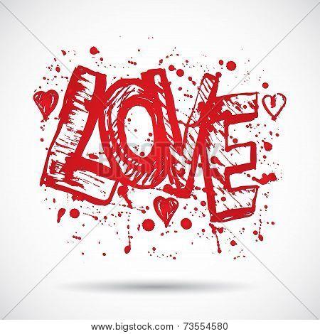 Grunge Background With Bright Red Heart. Love. Paint Splash.