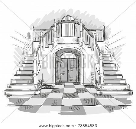 spacious hall and staircase drawing, vector illustration
