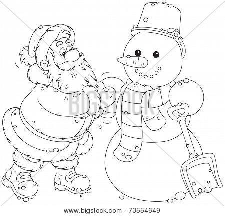 Картинки раскраски снеговика и деда мороза