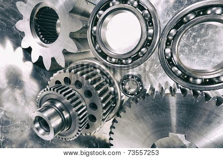 cogwheels, gears and ball-bearings, titanium and steel engineering parts