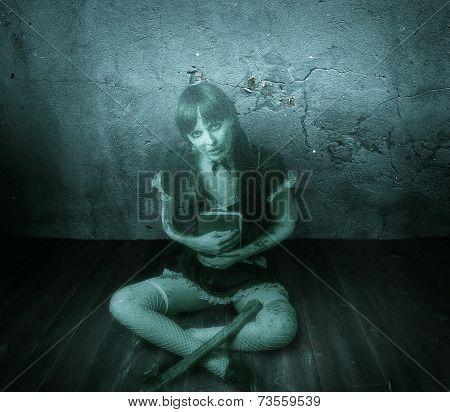 Halloween Horror. Transparent Blured Woman