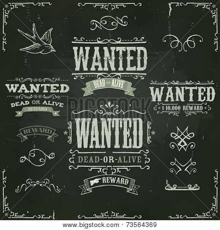 Wanted Vintage Western Banners On Chalkboard