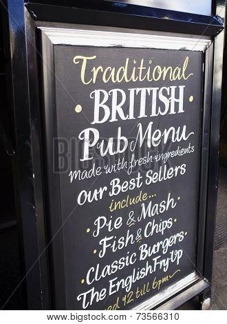 LONDON, UK - APRIL 16, 2014: Traditional British Pub Menu. Advertising in front of a pub.