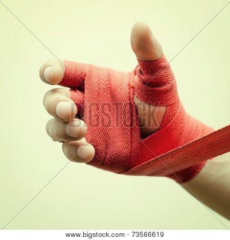 bandaging hands boxer