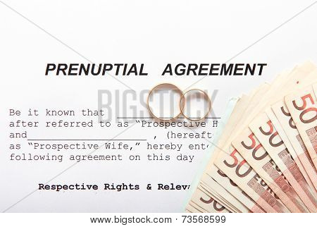 Prenuptial Agreement with wedding rings and euro notes