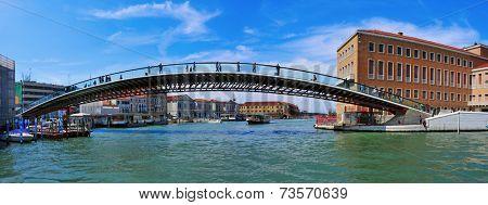 VENICE, ITALY - APRIL 13: Ponte della Costituzione over the Grand Canal on April 13, 2013 in Venice, Italy. This bridge designed by Santiago Calatrava connects Stazione di Santa Lucia to Piazzale Roma