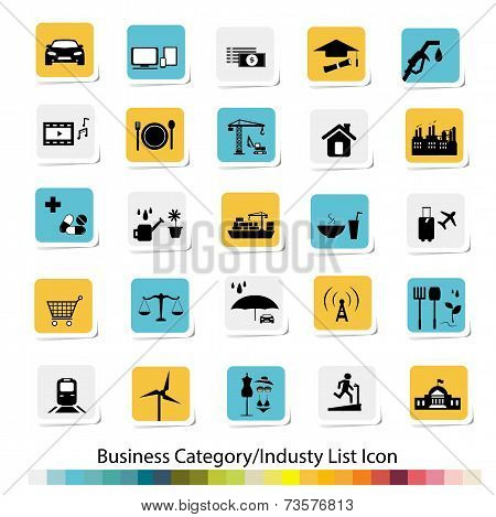 Vector f business Category and Industry List Icon poster