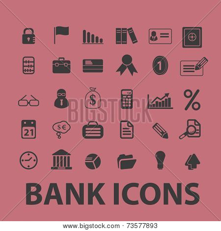 bank, money black icons, signs, illustrations set, vector
