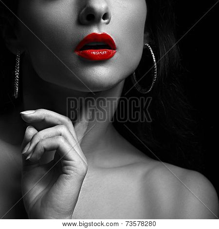 Black And White Portrait Of Sexy Young Woman With Bright Red Lips.