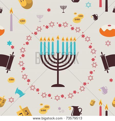 pattern with Hanukkah symbols. Greeting card