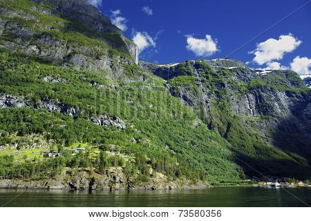 Wonderful landscape in Lysefjord, Norway. Lysefjord - one of Norway's best-known fjords photographed from the water. Norwegian fjords are very scenic, it's a pleasant to have a trip there. poster